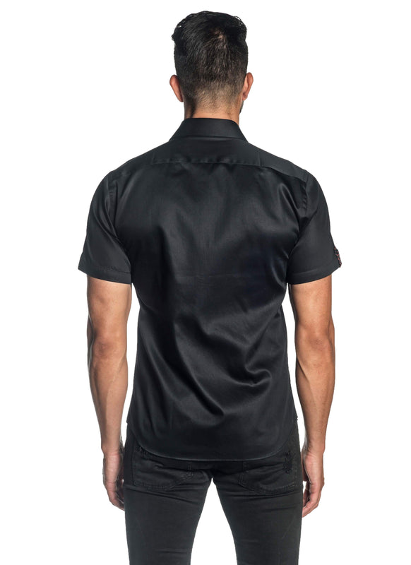 Black Solid Satin Short Sleeve Shirt for Men T-3551-SS - Back - Jared Lang