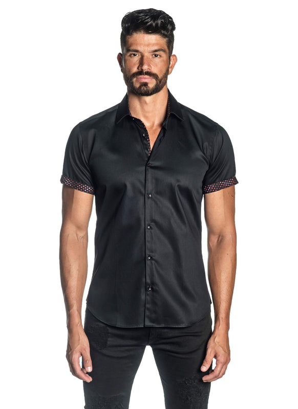 Black Solid Satin Short Sleeve Shirt for Men T-3551-SS - Front - Jared Lang
