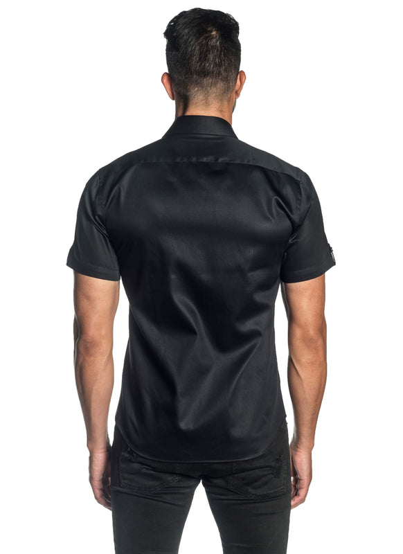 Black Solid Satin Short Sleeve Shirt for Men T-3552-SS - Back - Jared Lang