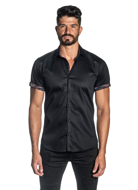 Black Solid Satin Short Sleeve Shirt for Men T-3552-SS - Front - Jared Lang