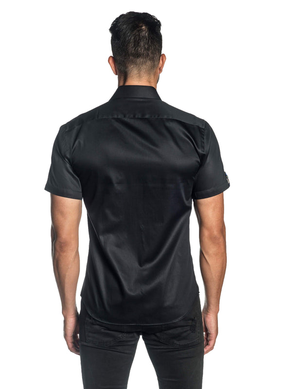 Black Solid Satin Short Sleeve Shirt for Men T-3554-SS - Back - Jared Lang