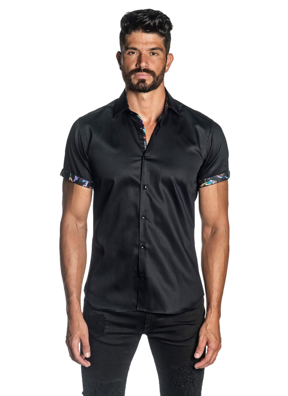 Black Solid Satin Short Sleeve Shirt for Men T-3554-SS - Front - Jared Lang