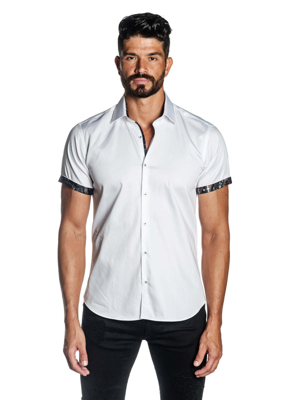White Solid Satin Short Sleeve Shirt for Men T-3555-SS - Front - Jared Lang