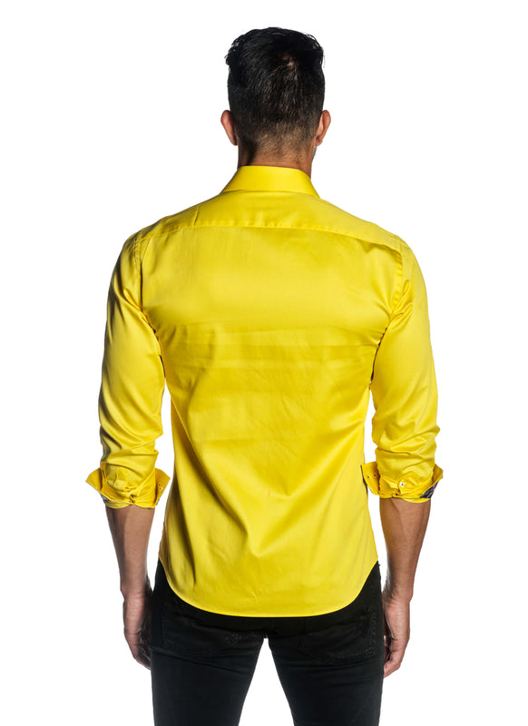 Yellow Solid Satin Shirt for Men T-3556 - Back - Jared Lang