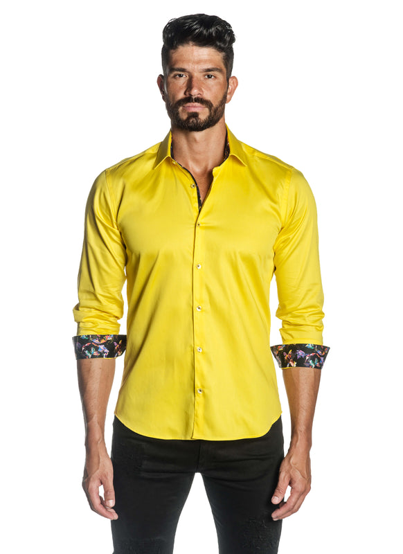 Yellow Solid Satin Shirt for Men T-3556 - Front - Jared Lang