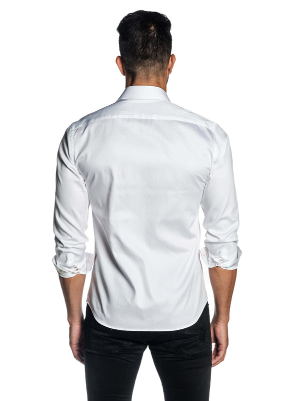 White Solid Satin Shirt for Men T-3557 - Back - Jared Lang