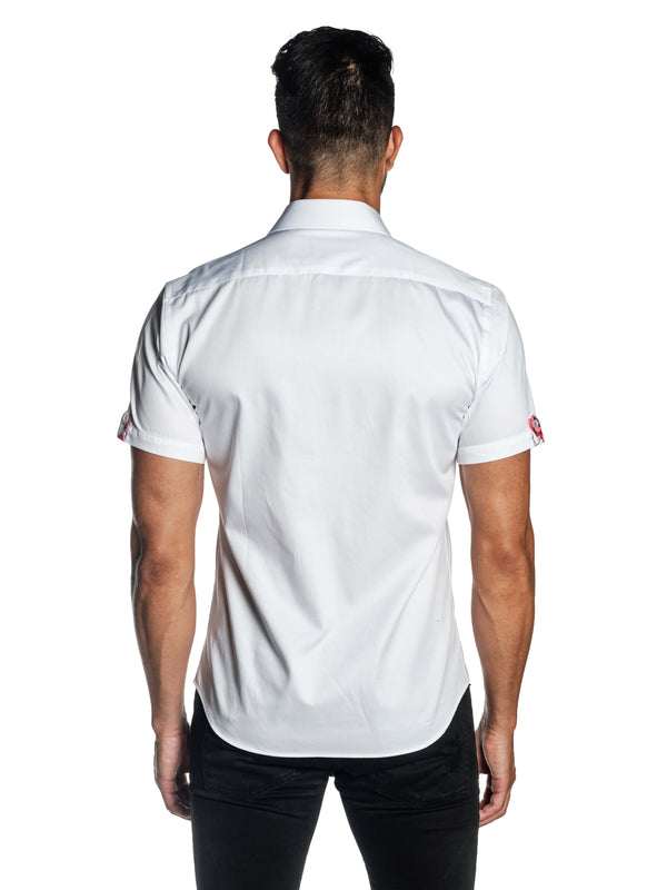White Solid Satin Short Sleeve Shirt for Men T-3557-SS - Back - Jared Lang