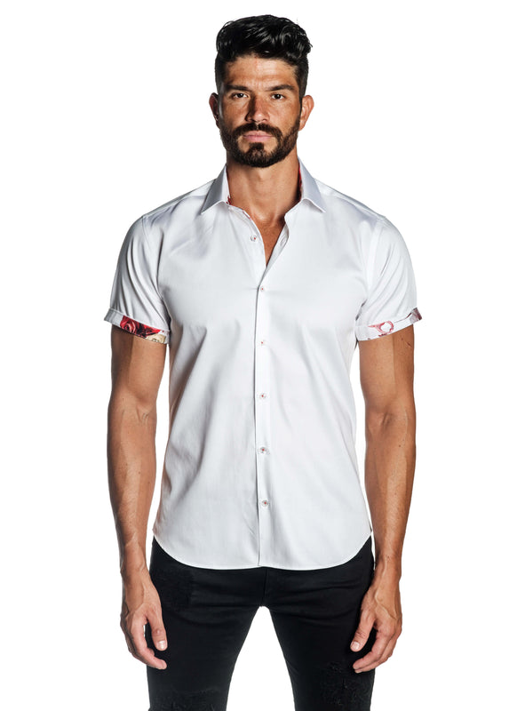 White Solid Satin Short Sleeve Shirt for Men T-3557-SS - Front - Jared Lang