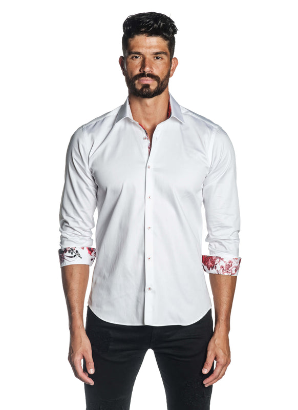 White Solid Satin Shirt for Men T-3557 - Front - Jared Lang