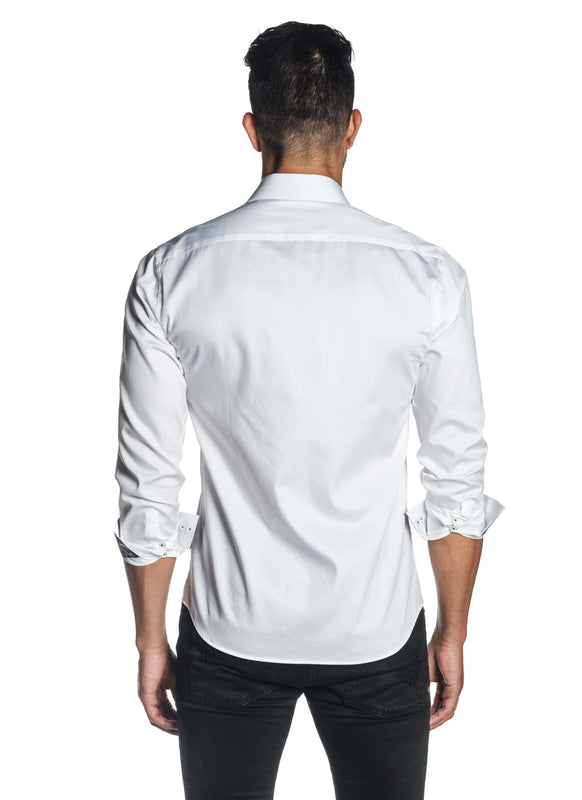 White Solid Satin Shirt for Men T-3558 - Back - Jared Lang