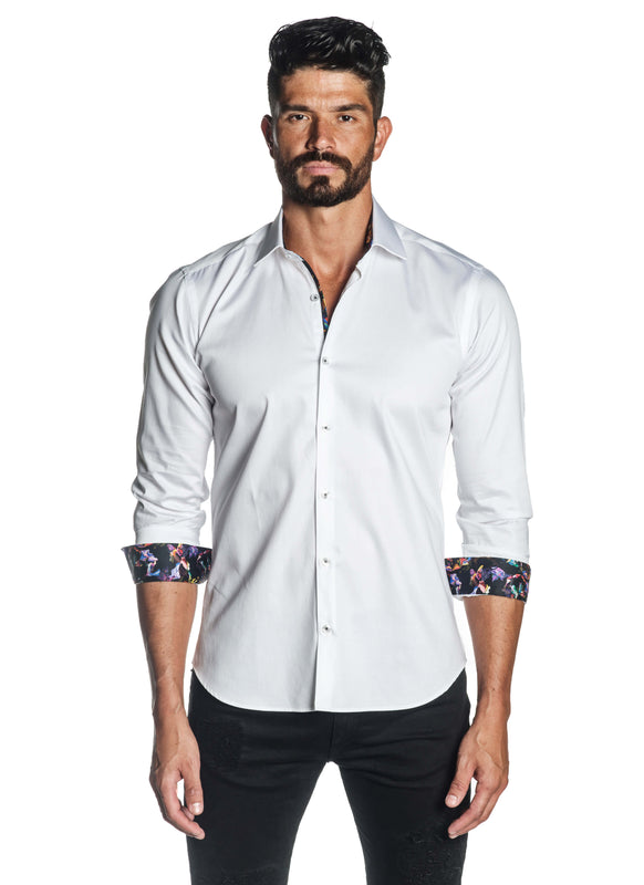 White Solid Satin Shirt for Men T-3558 - Front - Jared Lang