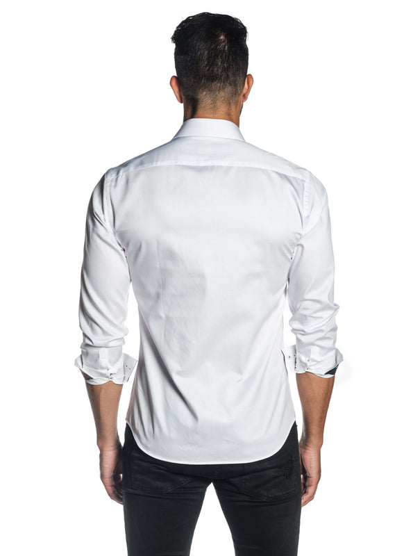 White Solid Satin Shirt for Men T-3559 - Back - Jared Lang