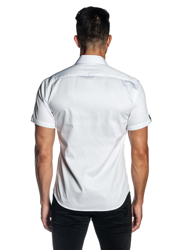White Solid Shot Sleeve Shirt for Men T-3559-SS - Back - Jared Lang