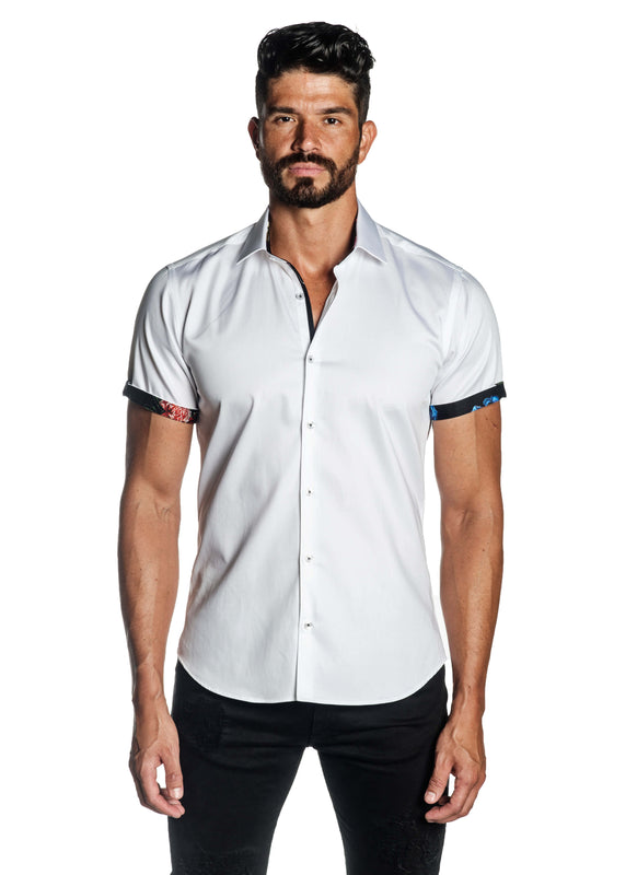 White Solid Shot Sleeve Shirt for Men T-3559-SS - Front - Jared Lang