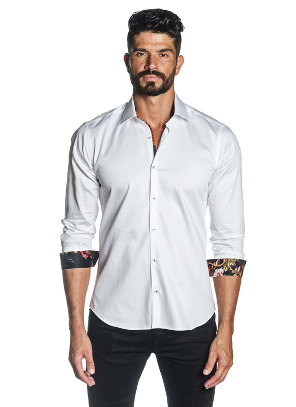 White Solid Satin Shirt for Men T-3559 - Front - Jared Lang