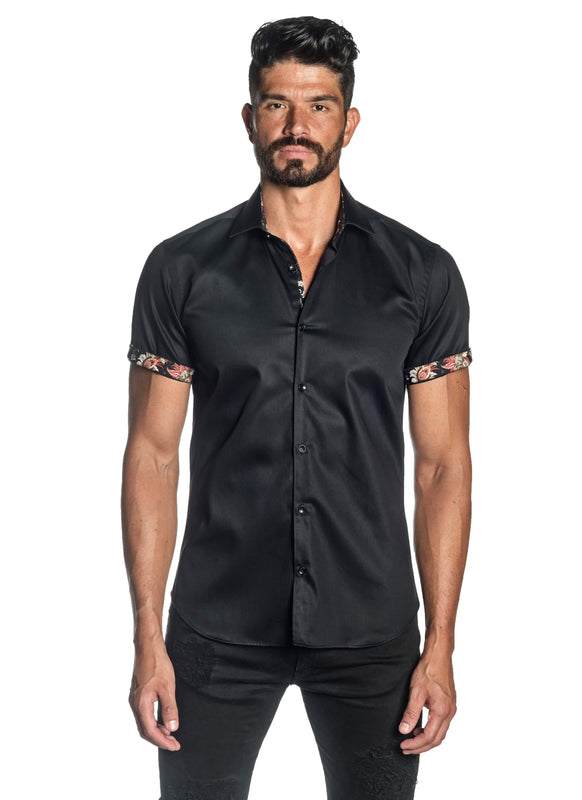 Black Solid Shot Sleeve Shirt for Men T-3560-SS - Front - Jared Lang
