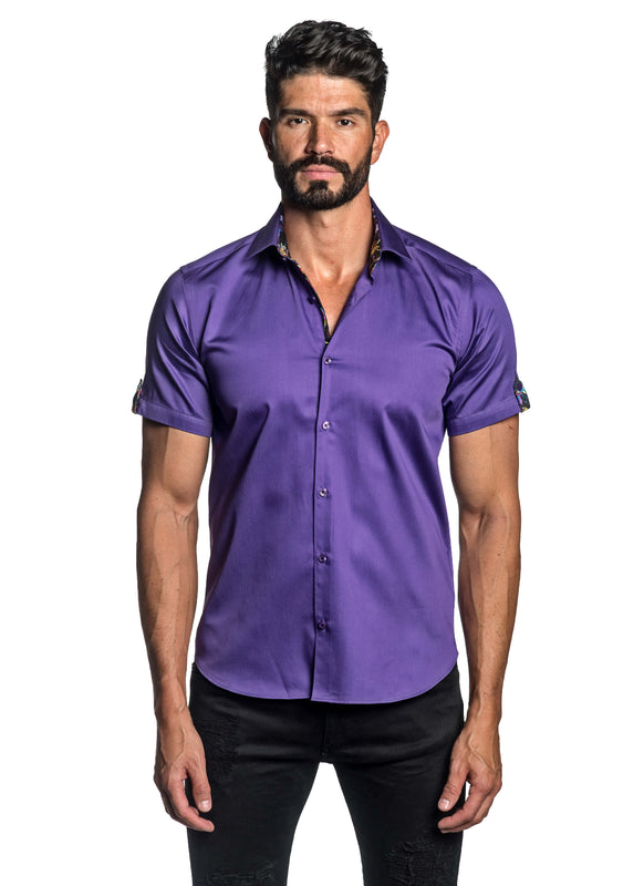 Purple Satin Short Sleeve Shirt for Men T-3561-SS - Front - Jared Lang