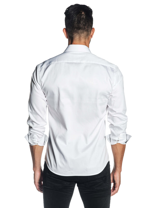 White Solid Satin Shirt for Men T-3562 - Back - Jared Lang
