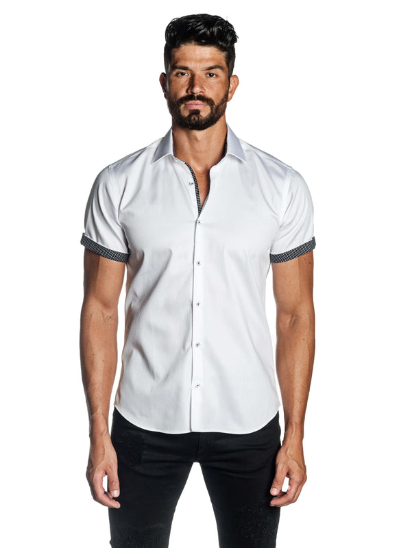 White Solid Shot Sleeve Shirt for Men T-3562-SS - Front - Jared Lang