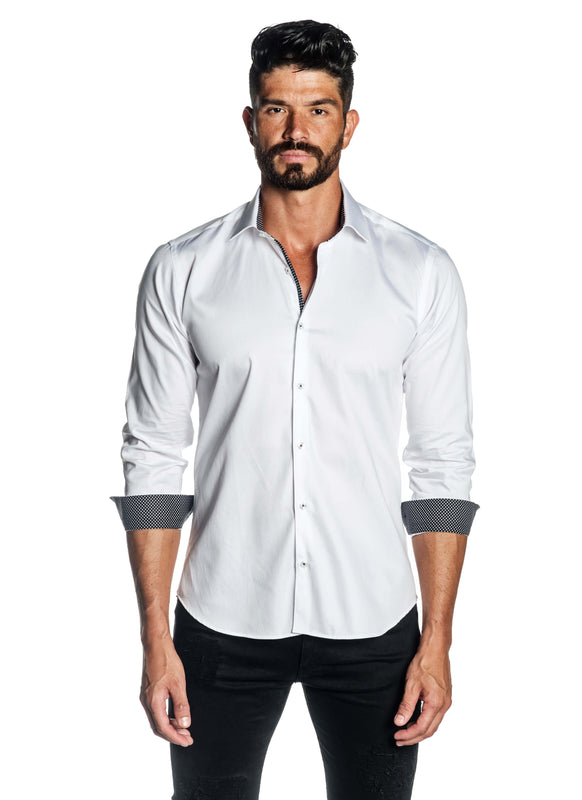 White Solid Satin Shirt for Men T-3562 - Front - Jared Lang