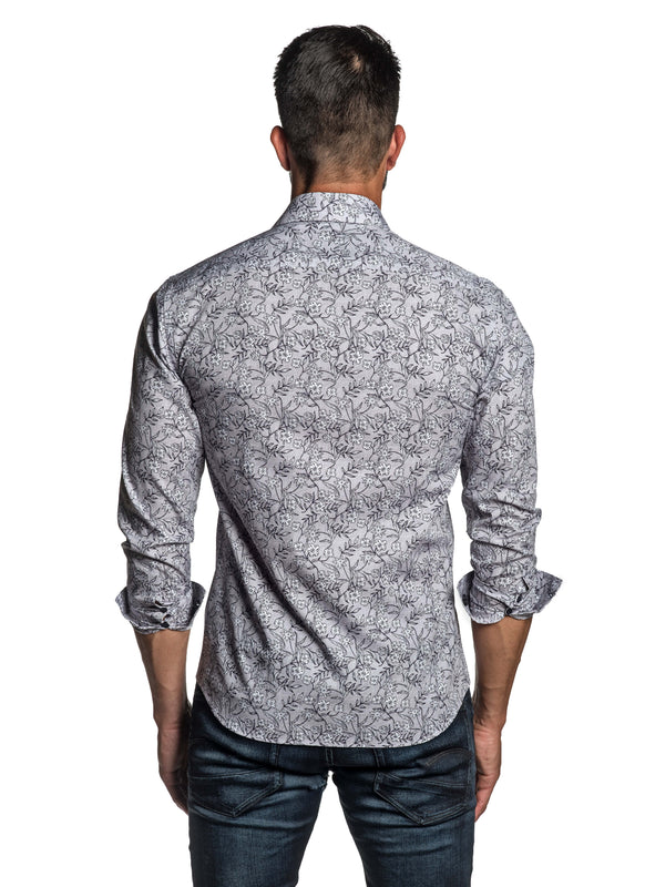 Grey Blue Floral Printed Shirt for Men T-3564 - Back - Jared Lang