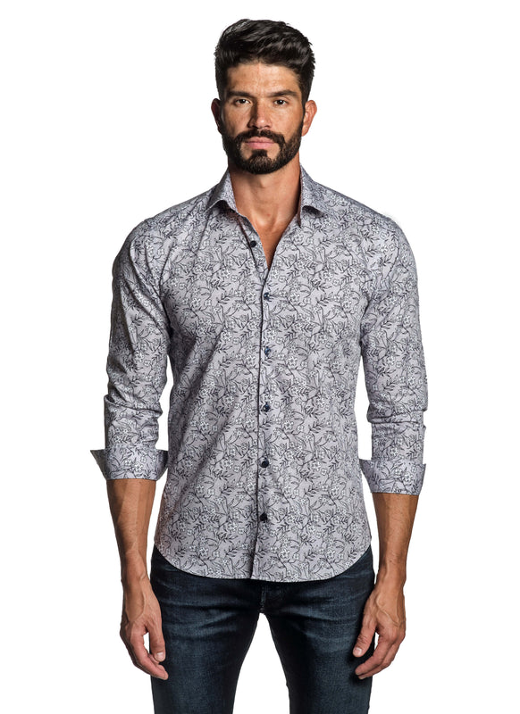 Grey Blue Floral Printed Shirt for Men T-3564 - Front - Jared Lang