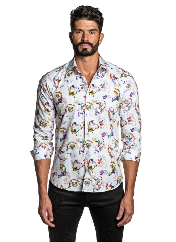 White Butterfly Printed Shirt for Men T-3566 - Front - Jared Lang