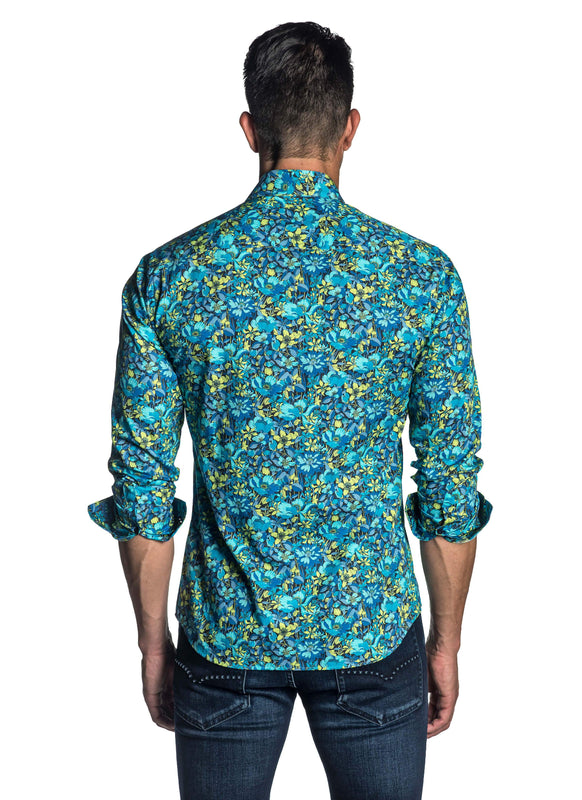 Turquoise Floral Shirt for Men T-4033 - Back - Jared Lang