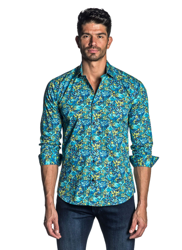 Turquoise Floral Shirt for Men T-4033 - Front - Jared Lang