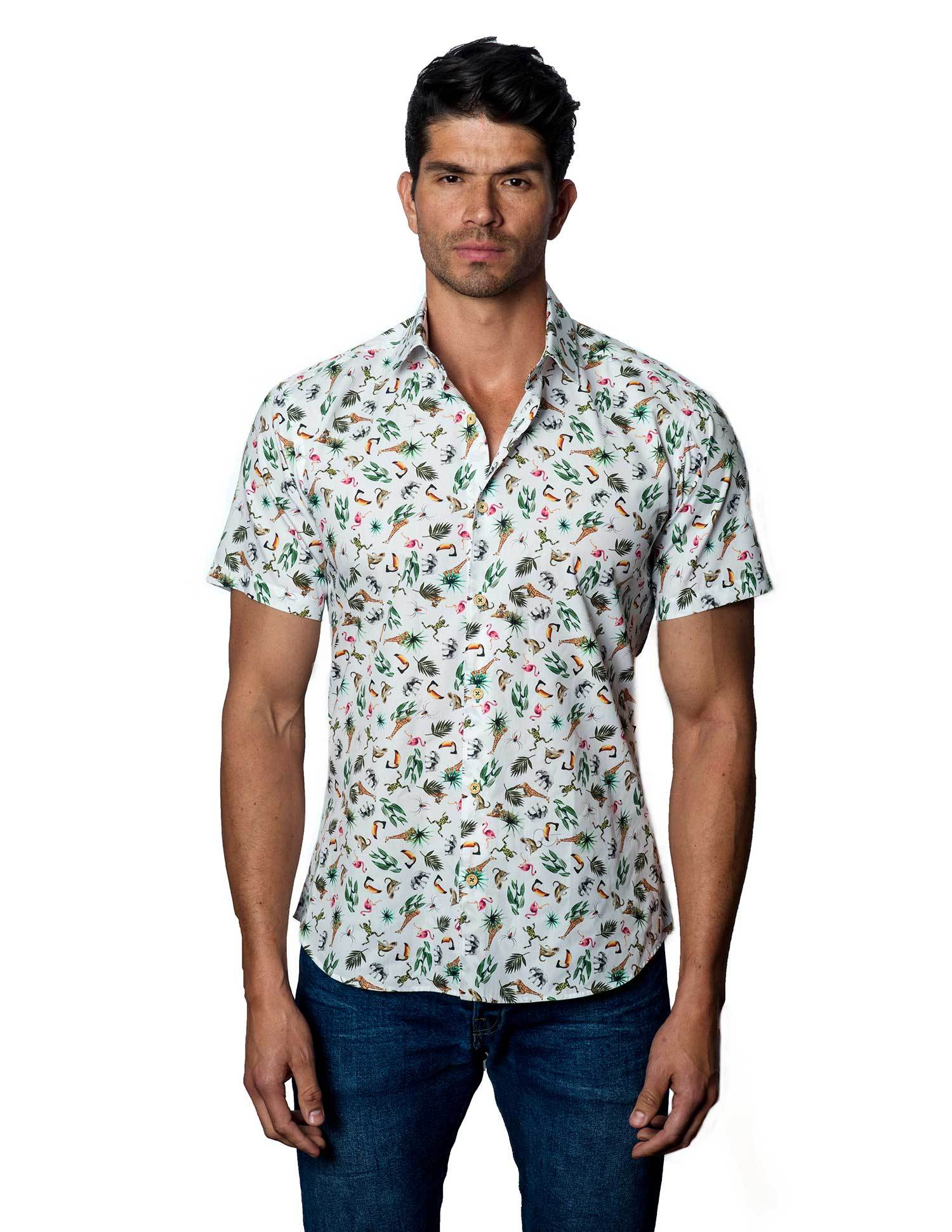 White Jungle Shirt for Men T-4107-SS - Jared Lang