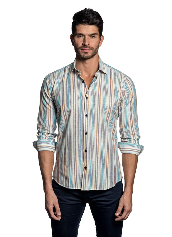 White Multicolor Stripe Shirt for Men - front T-453 - Jared Lang Collection