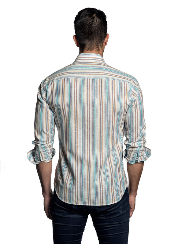 White Multicolor Stripe Shirt for Men - back T-453 - Jared Lang Collection
