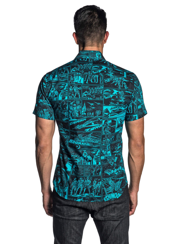 Turquoise Short Sleeve Shirt for Men - Back T-5107-SS - Jared Lang