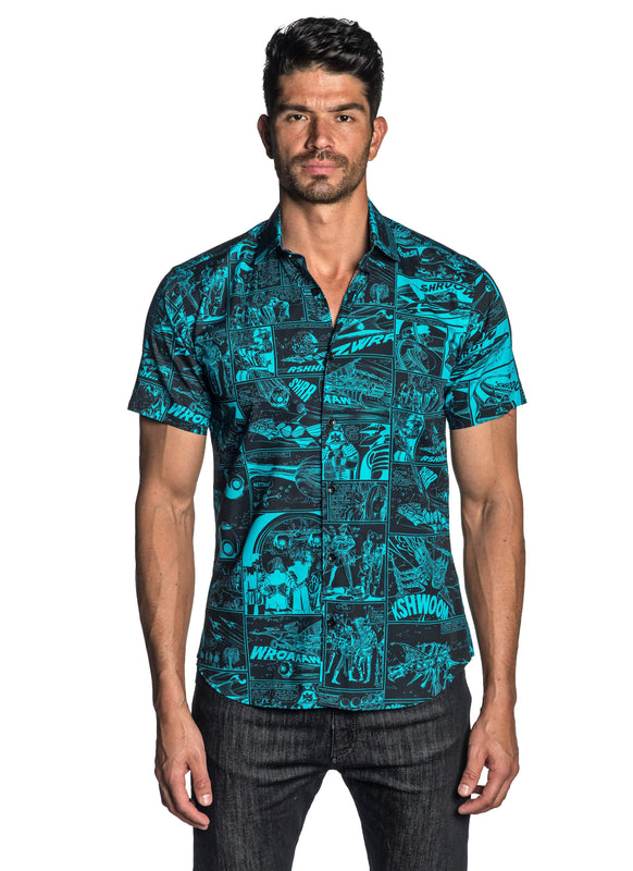Black Turquoise Short Sleeve Shirt for Men Front T-5107-SS - Jared Lang