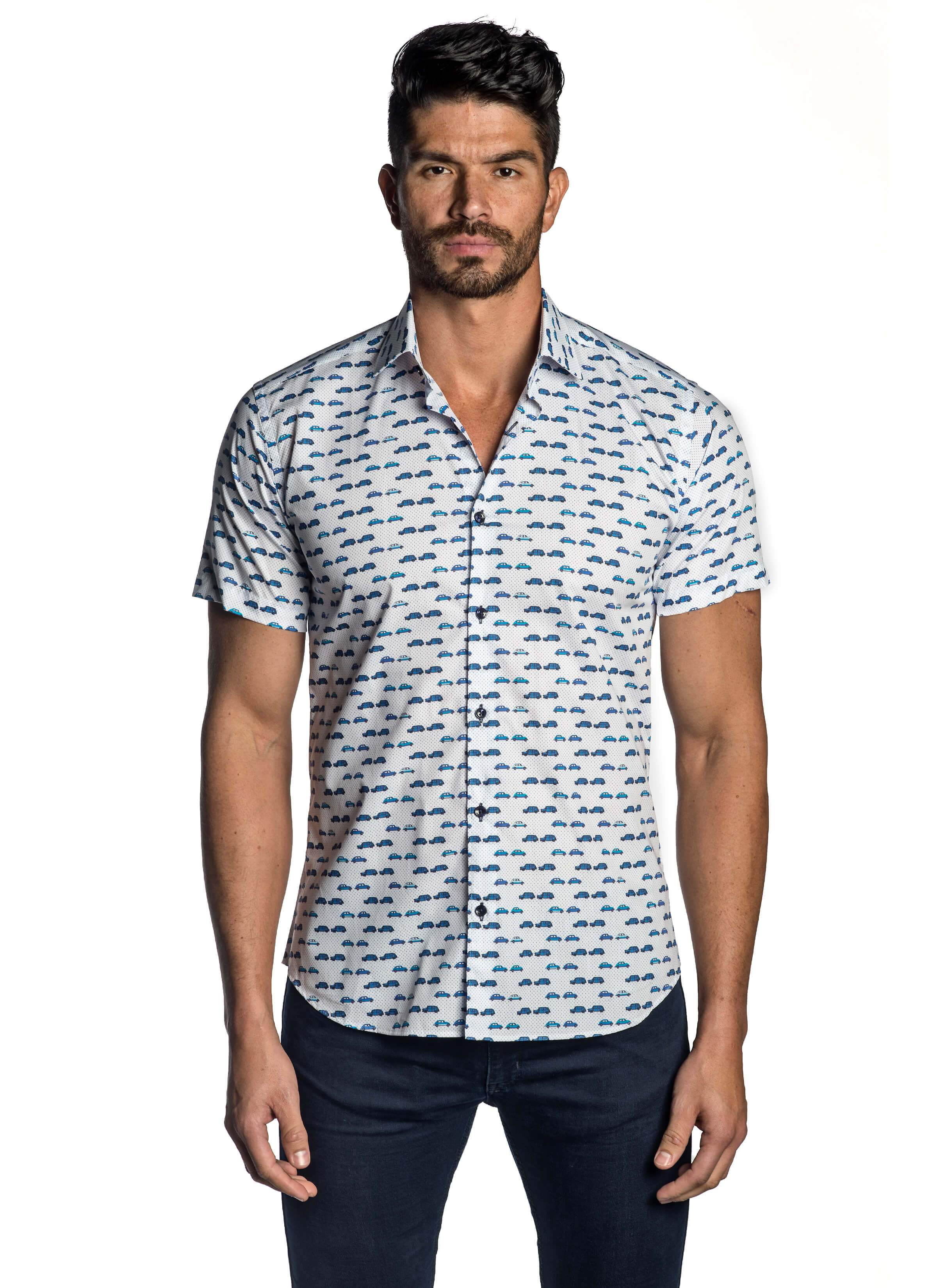 37ffba7e63c White and Blue British Car Print Shirt for Men T-5121-SS