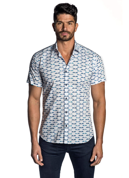 White and Blue British Car Print Shirt for Men T-5121-SS