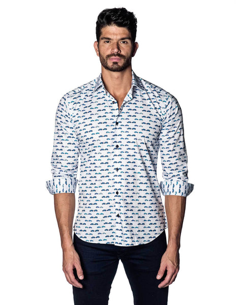 White Car Printed Shirt for Men - front T-5121