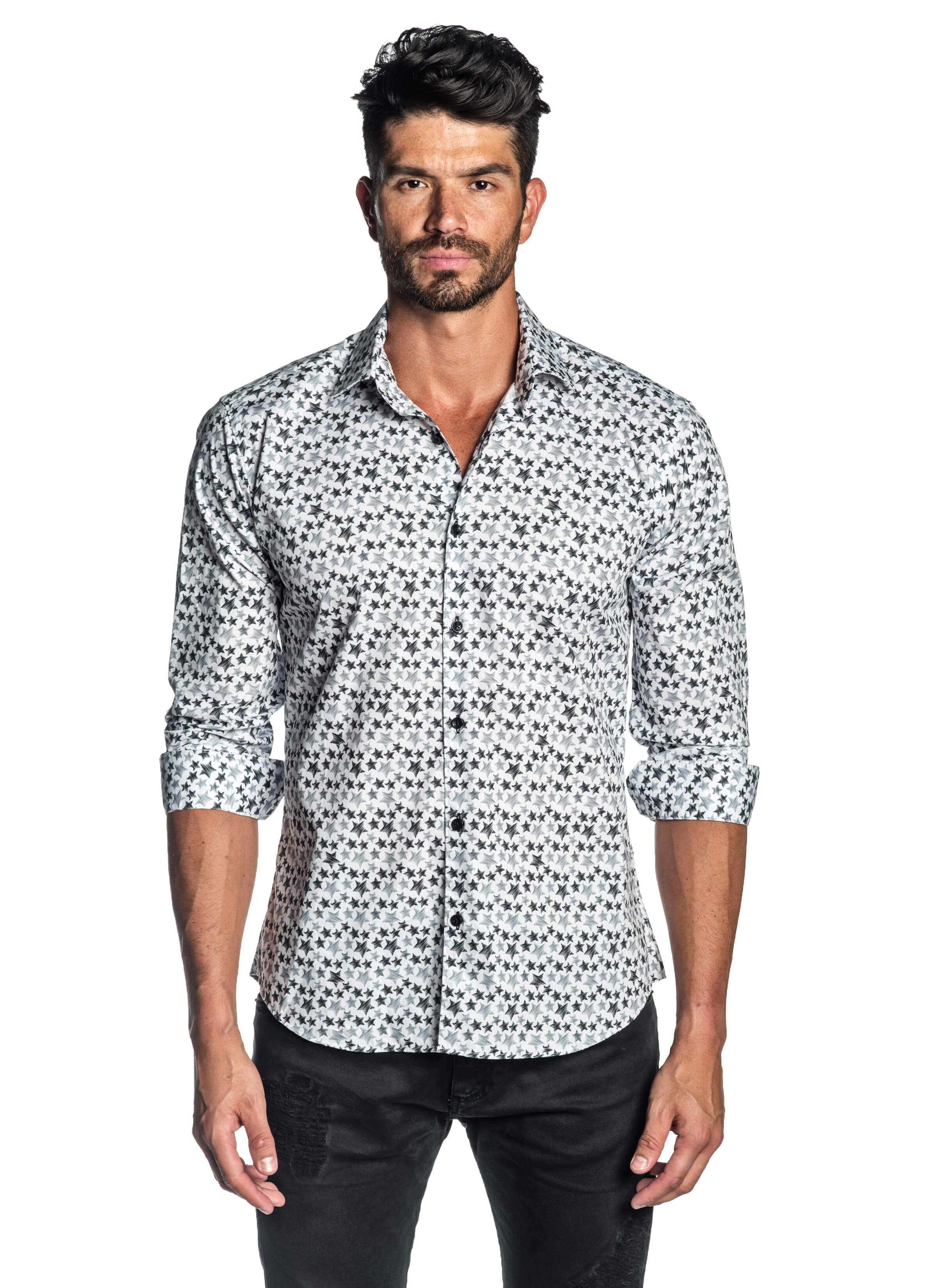 White Star Printed Shirt for Men - front T-518 - Jared Lang Collection