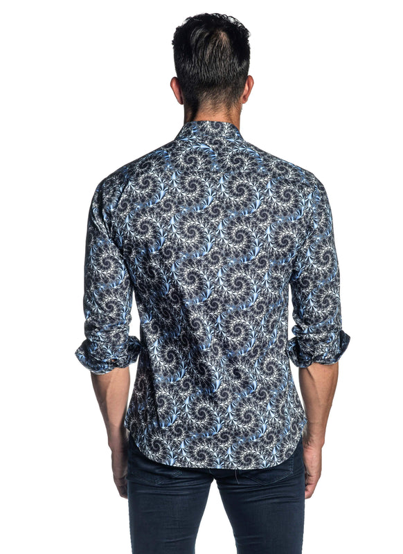 Navy Printed Shirt for Men T-520 - Back - Jared Lang
