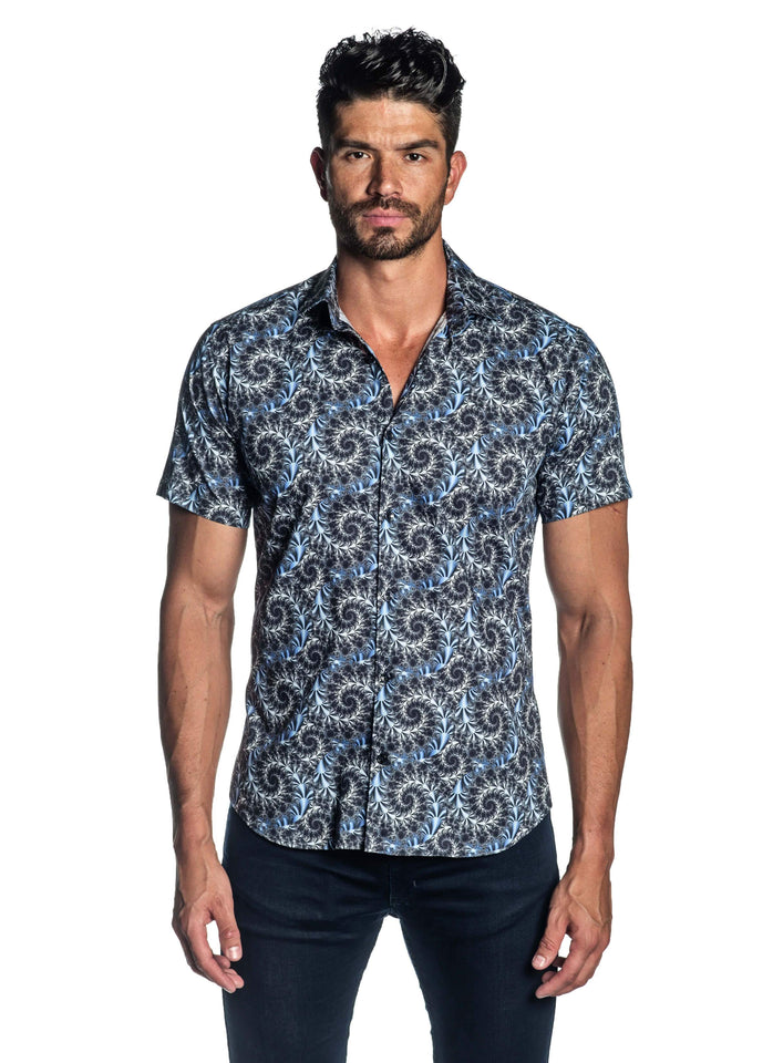 Navy Printed Short Sleeve Shirt for Men T-520-SS - Front - Jared Lang