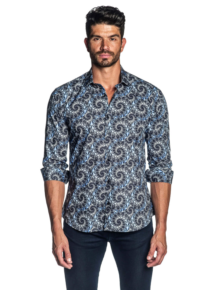 Navy Circular Print Pattern Shirt for Men T-520 - Jared Lang