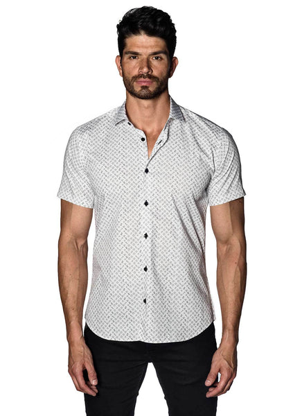 White Shapes Print Short Sleeve Shirt for Men T-561-SS | Jared Lang