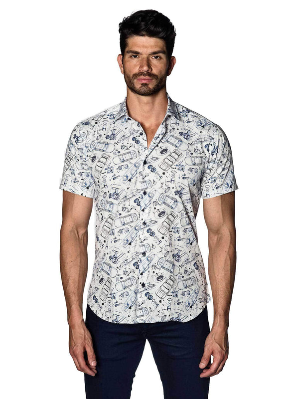 White with Mechanics Pattern Short Sleeve Shirt for Men T-584-SS - Jared Lang