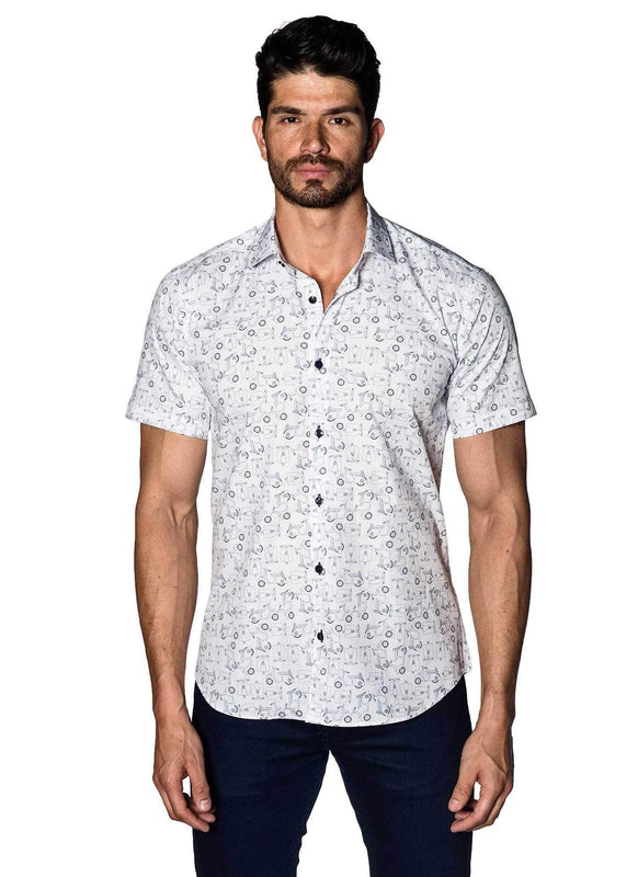 White with Scooter Pattern Short Sleeve Shirt for Men T-592-SS - Jared Lang