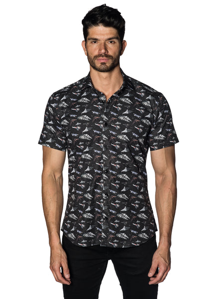 Black with Spaceships Pattern Short Sleeves Shirt for Men T-597-SS - Jared Lang