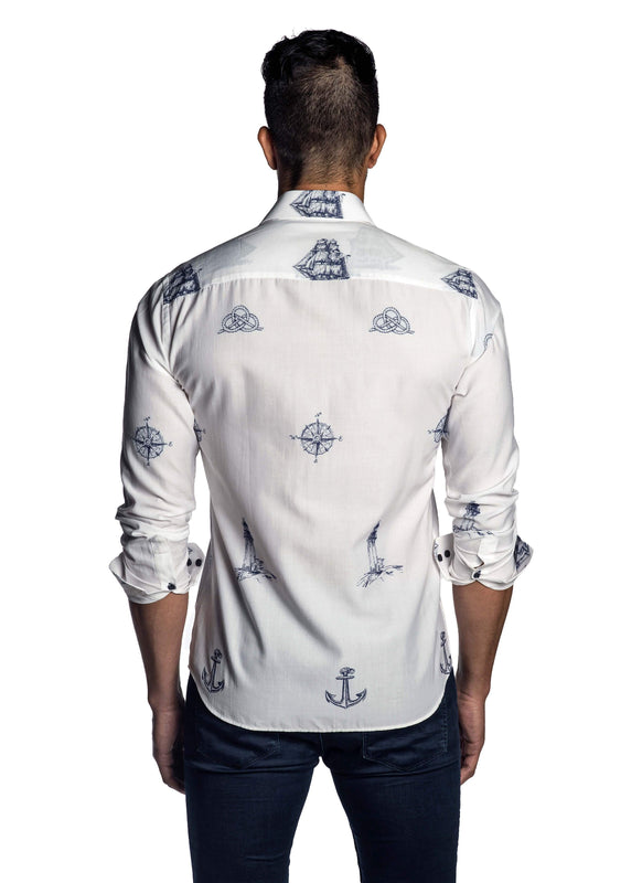 White and Blue Embroidered Yachting Shirt for Men T-7103 - Back - Jared Lang