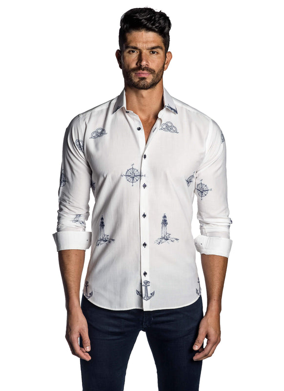 White and Blue Embroidered Yachting Shirt for Men T-7103 - Front - Jared Lang