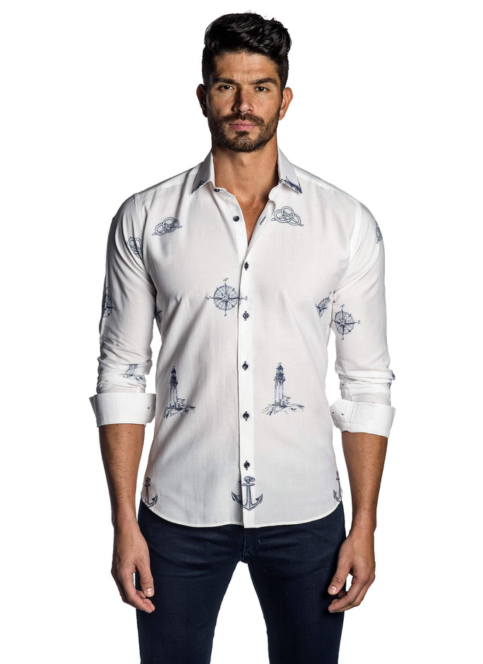 White and Blue Embroidered Yachting Shirt for Men - front T-7103 - Jared Lang