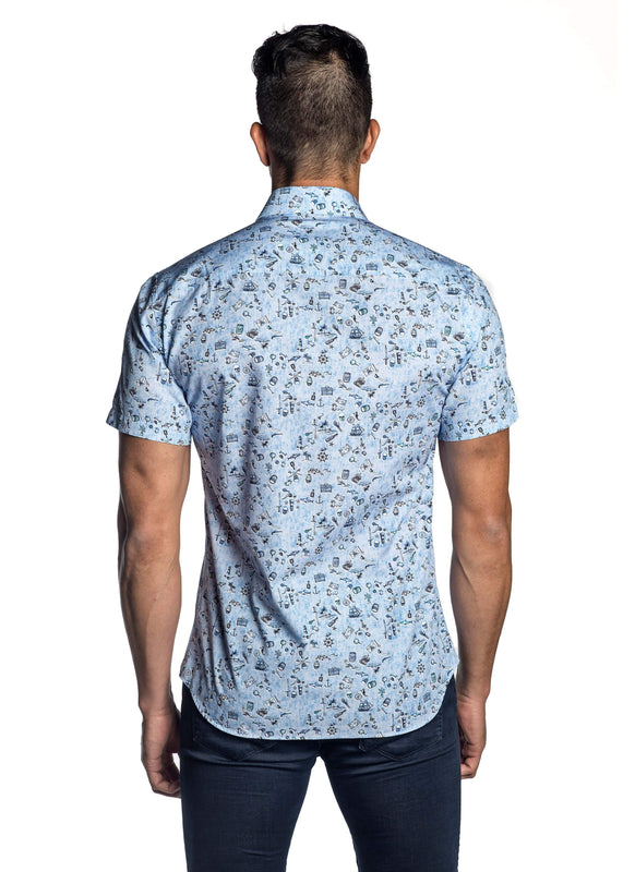 Sky Blue Pirate Print Shirt for Men T-7115-SS - Back - Jared Lang