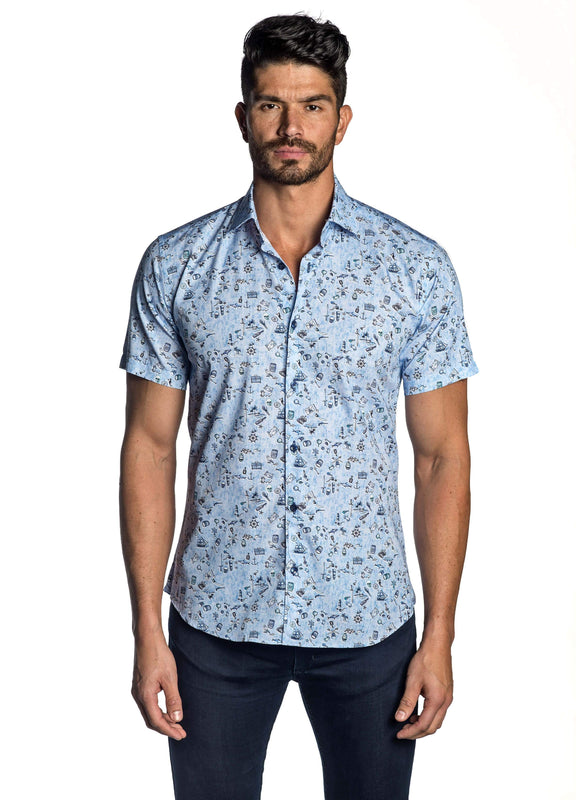 Sky Blue Pirate Print Shirt for Men T-7115-SS - Front - Jared Lang
